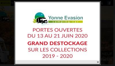 Site internet de Yonne Evasion Camping Car