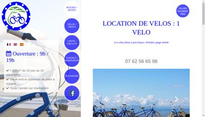 Capture d'écran du site de 1 Velo
