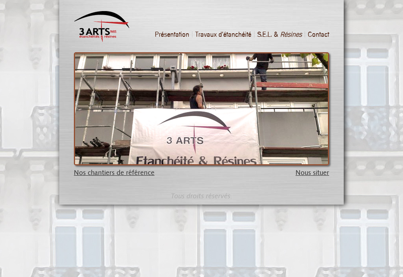 Capture d'écran du site de 3 Arts