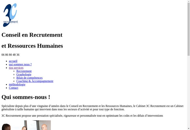 Capture d'écran du site de 3C Recrutement-Cbt Cohen-Tubiana