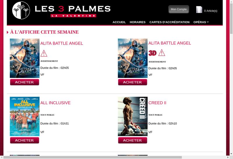 Capture d'écran du site de Les Trois Palmes