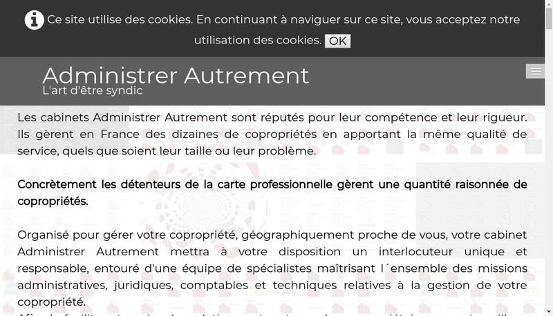 Capture d'écran du site de Administrer Autrement