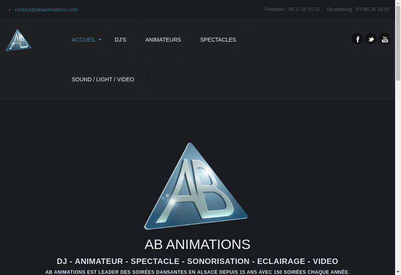 Capture d'écran du site de Ab Animations