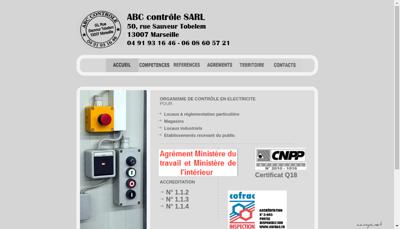 Capture d'écran du site de Abc Controle