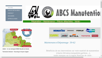 Capture d'écran du site de Abcs Manutention