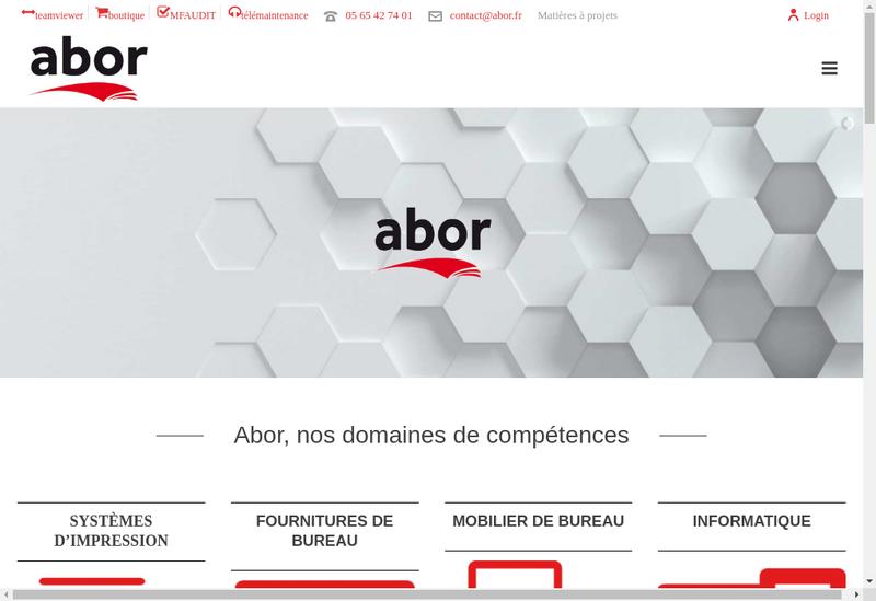Capture d'écran du site de Abor Distribution