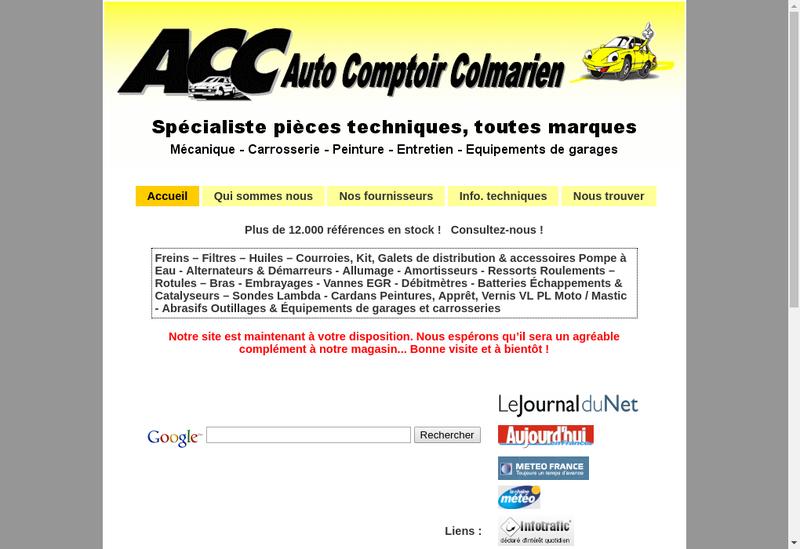 Capture d'écran du site de ACC