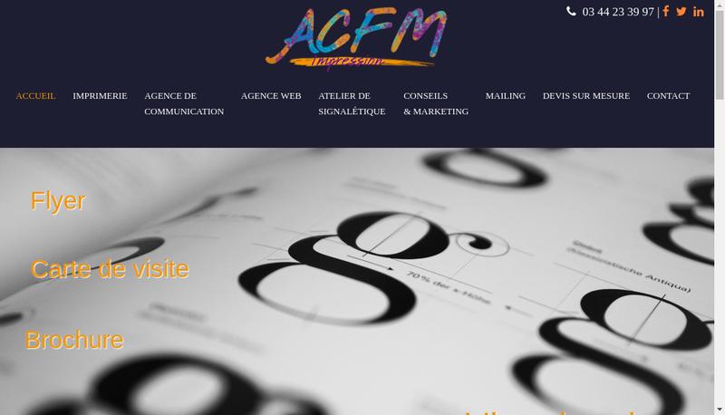 Capture d'écran du site de Acfm Impression