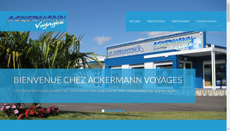 Capture d'écran du site de Ackermann Voyages