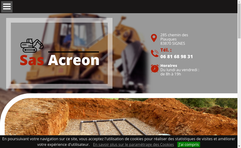 Capture d'écran du site de Acreon
