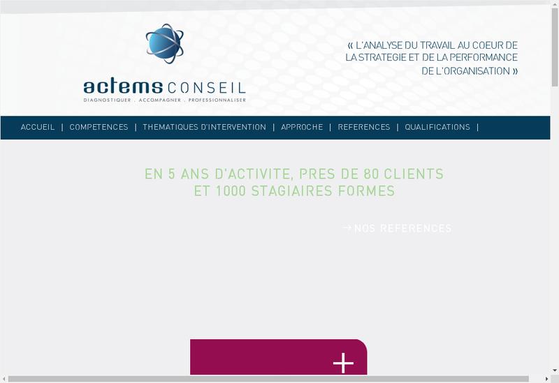 Capture d'écran du site de Actems Conseil