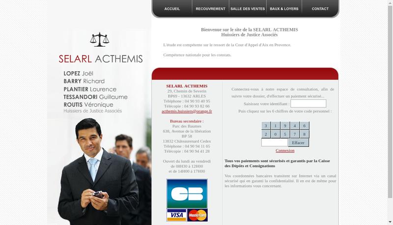Capture d'écran du site de Acthemis