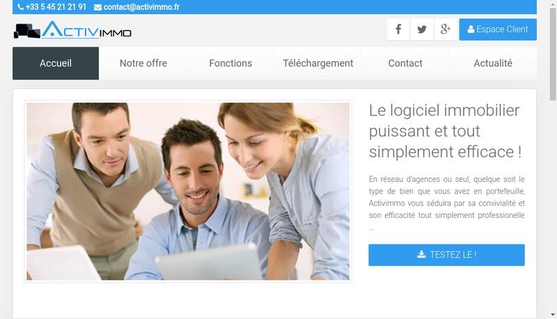 Capture d'écran du site de Activisoft