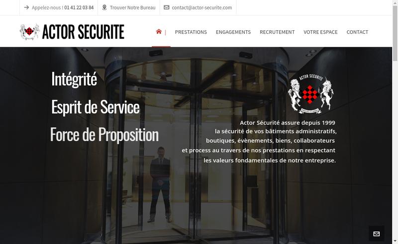 Capture d'écran du site de Actor Securite
