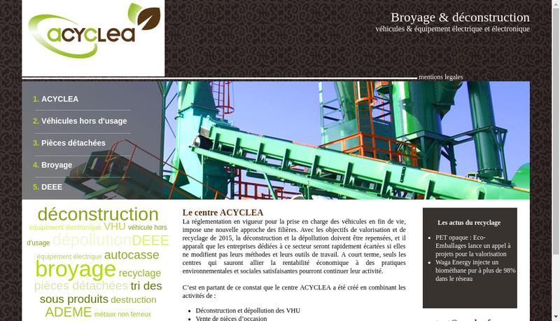 Capture d'écran du site de Acyclea - Auto Casse