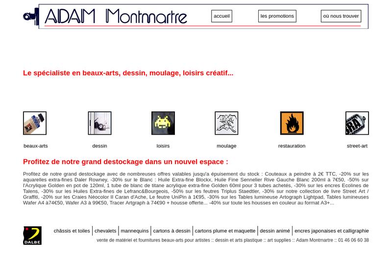 Capture d'écran du site de ADAM
