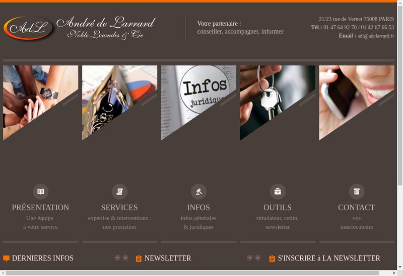 Capture d'écran du site de À de Larrard N Lowndes Cie