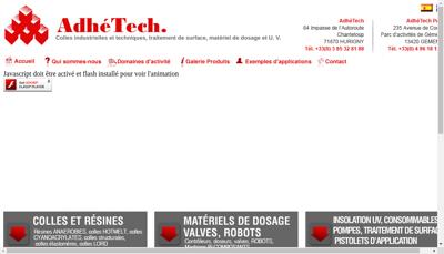 Capture d'écran du site de Adhetech
