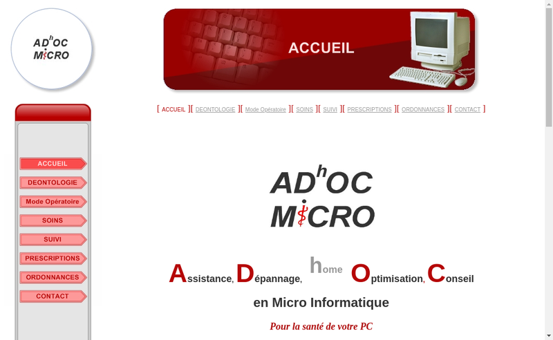 Capture d'écran du site de Adhoc Micro