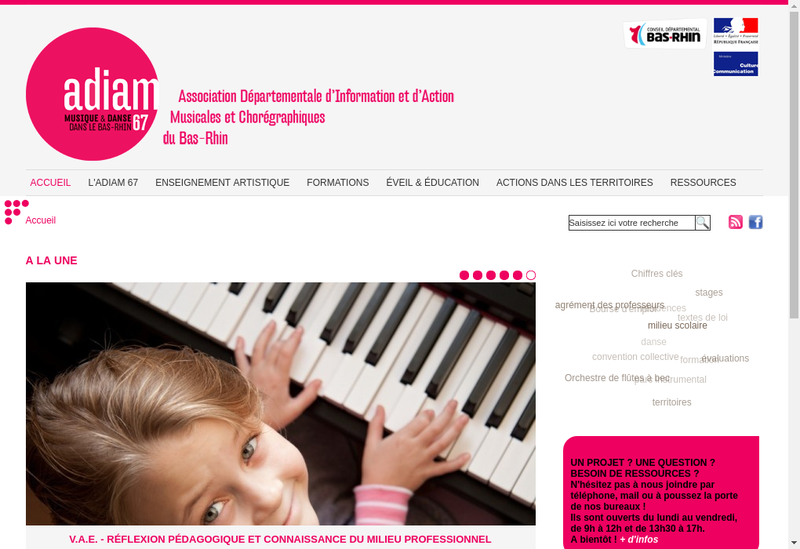Capture d'écran du site de Ass Dep Information Action Musicales