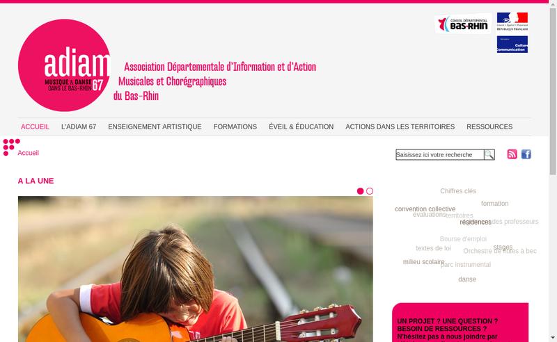 Capture d'écran du site de Association Dep Information Action Musicales