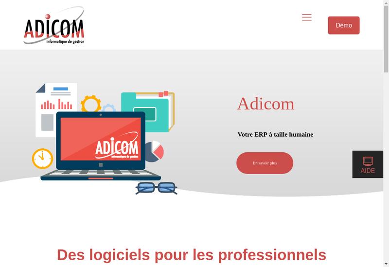 Capture d'écran du site de Adicom
