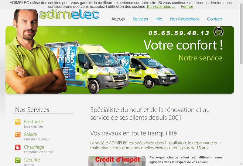 Capture d'écran du site de Adimelec