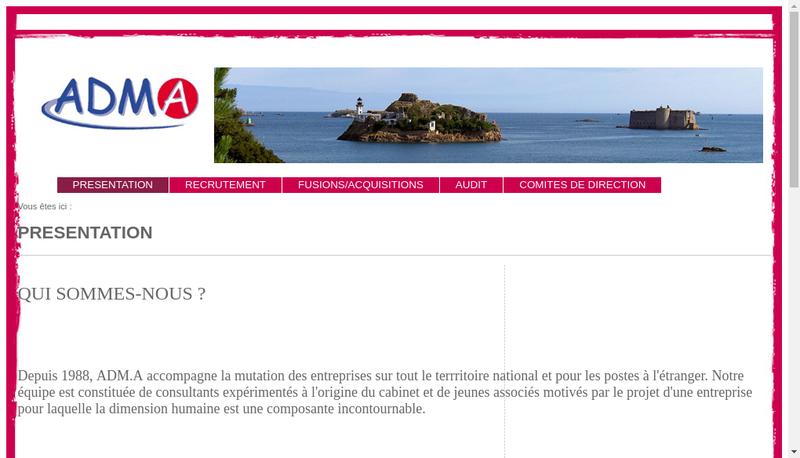 Capture d'écran du site de Adm à