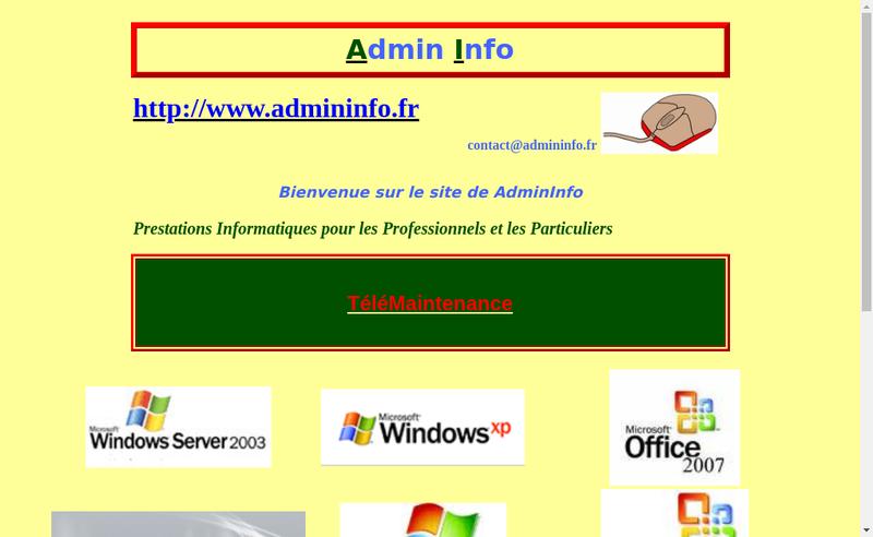 Capture d'écran du site de Admin'Info