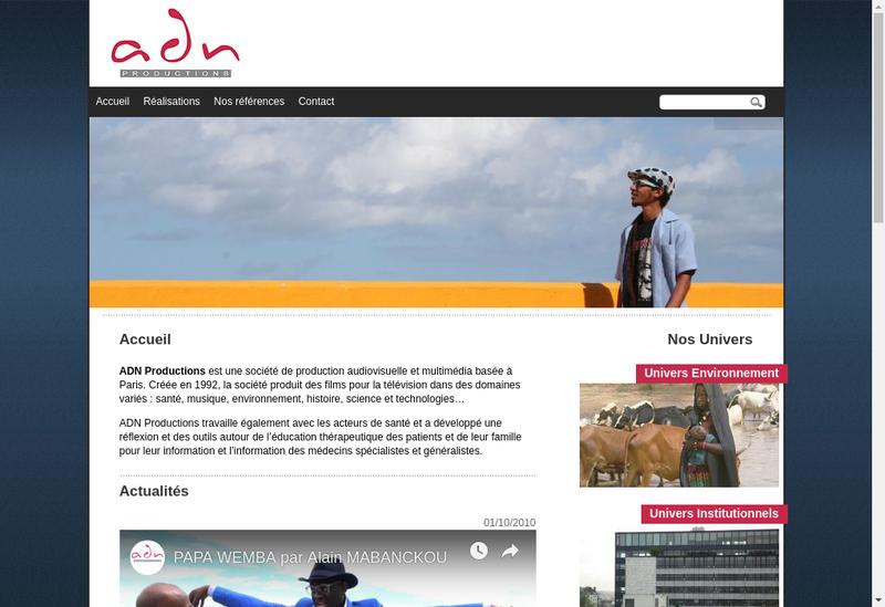 Capture d'écran du site de Adn Productions