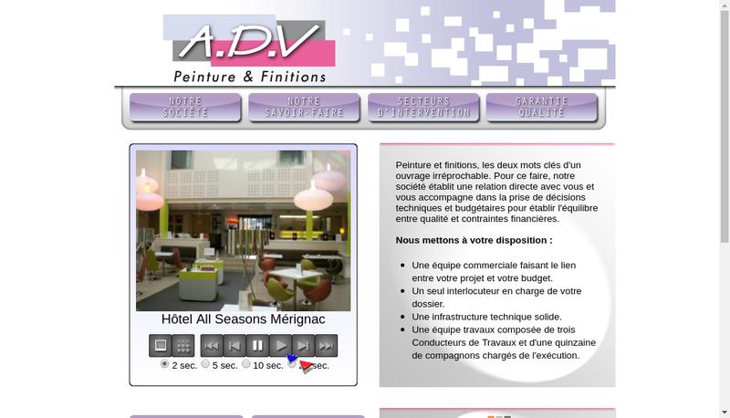 Capture d'écran du site de ADV Peinture