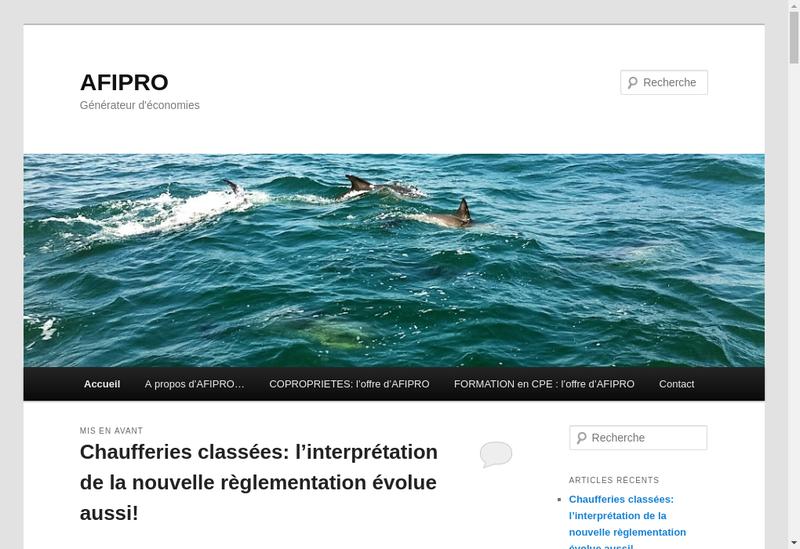Capture d'écran du site de Afipro