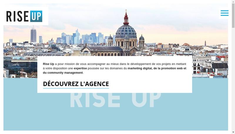 Capture d'écran du site de Agence Rise Up