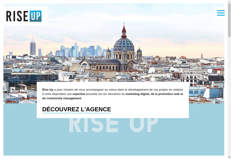 Capture d'écran du site de Agence Rise Up
