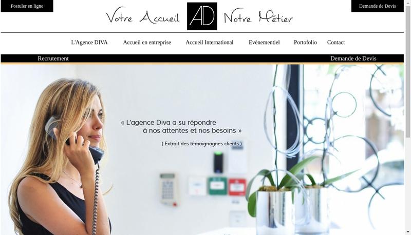Capture d'écran du site de Agence Diva