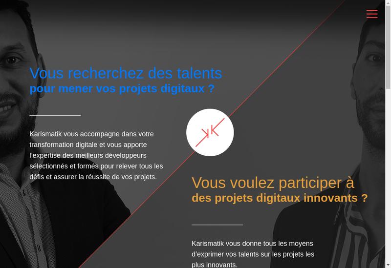 Capture d'écran du site de Karismatik