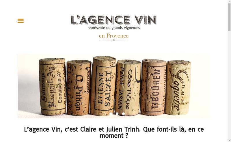 Capture d'écran du site de L'Agence Vin