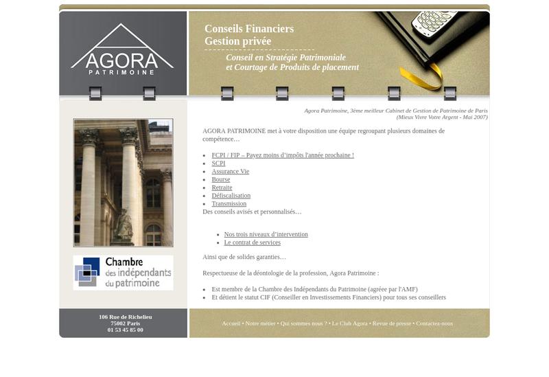 Capture d'écran du site de Agora Patrimoine