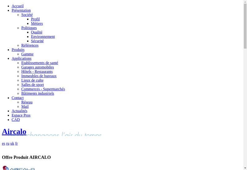 Capture d'écran du site de Aircalo Group