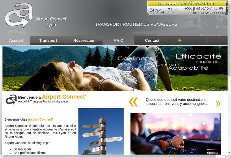 Capture d'écran du site de Airport Connect