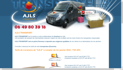 Capture d'écran du site de Ajls Transport