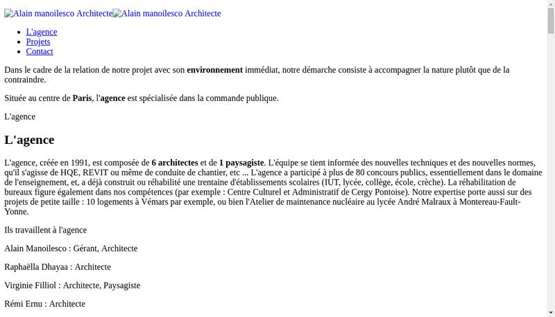 Capture d'écran du site de Alain Manoilesco Architecte