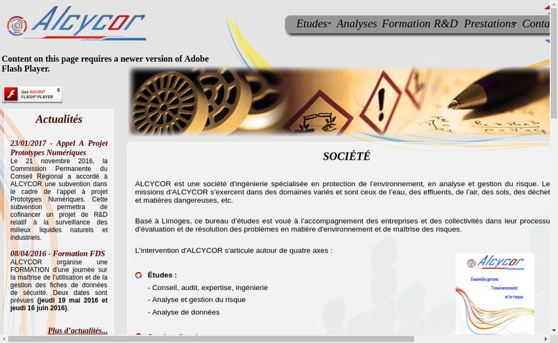 Capture d'écran du site de Alcycor