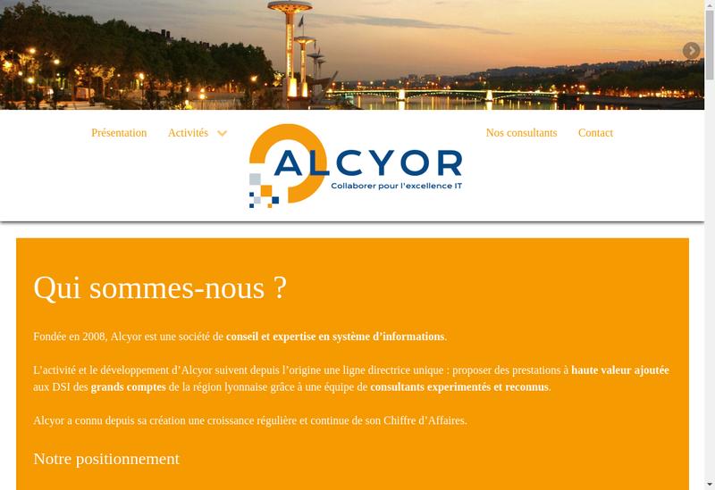 Capture d'écran du site de Alcyor