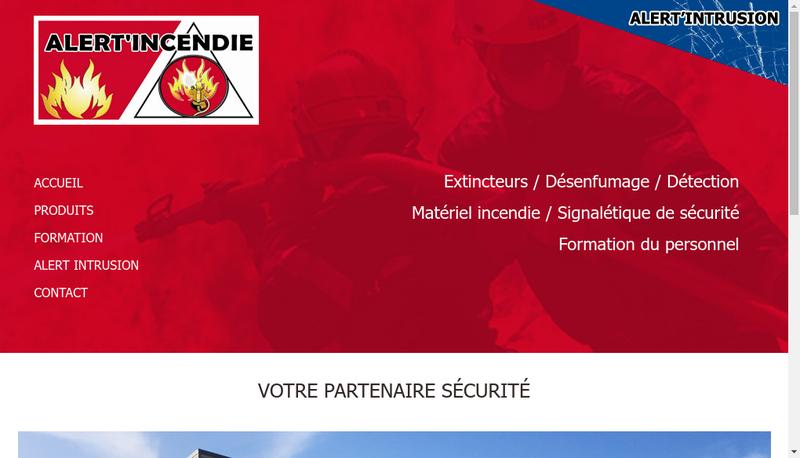 Capture d'écran du site de Alert Incendie