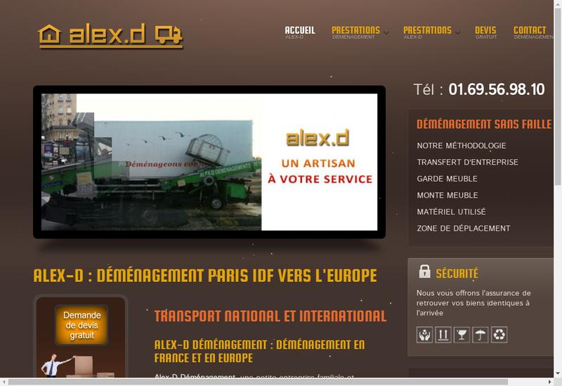 Capture d'écran du site de Alex d'Demenagement