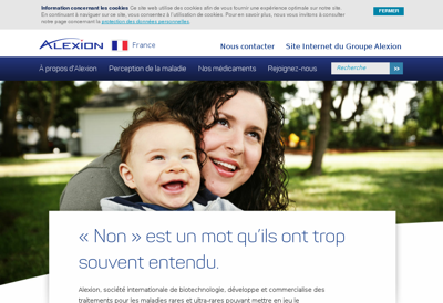 Capture d'écran du site de Alexion Pharma France