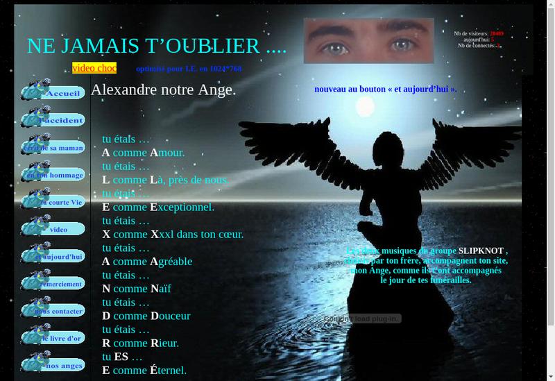Capture d'écran du site de Alexmy