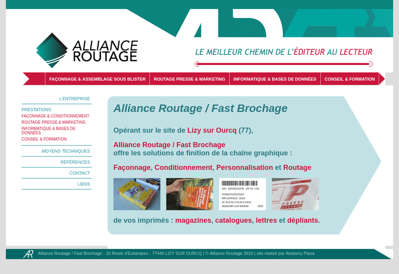 Capture d'écran du site de Alliance Routage