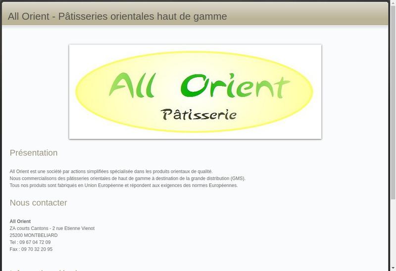 Capture d'écran du site de All Orient